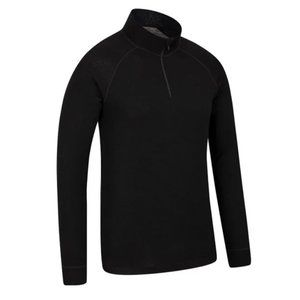 Merino Wool Mens Long Sleeved Zip Neck Sweater Top